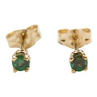 .20 ctw Natural Emerald Stud Earrings 14k Yellow Gold