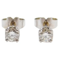 .42 ctw VS2 Clarity, I Color Diamond Stud Earrings 14k White Gold
