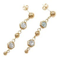 14k Gold Long Blue Topaz Dangle Earrings