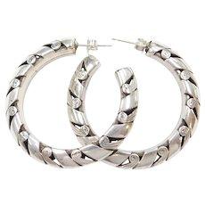 Big Sterling Silver Hoop Earrings