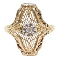 .04 Carat Art Deco Inspired Filigree Ring 14k Gold