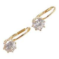 1.70 ctw Faux Diamond Earrings in Ornate 14k Gold Lever Back Settings
