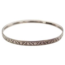 Art Nouveau Sterling Silver Floral Bangle Bracelet