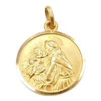 18k Gold Saint Anthony Religious Medallion Charm ~ Catholic