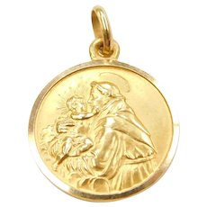 18k Gold Saint Anthony Religious Medallion Charm ~ Catholic