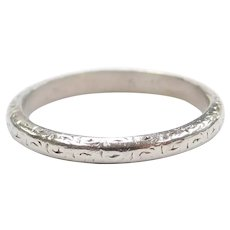 Art Deco Platinum Wedding Band with Ornate Etching