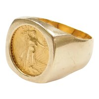 1987 1/10 Oz Fine Gold $5 Dollar American Gold Eagle Coin Ring Fine 24k Gold and 14k Gold