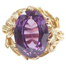 Big 11.78 Carat Alexandrite Ring with Unique 14k Gold Setting