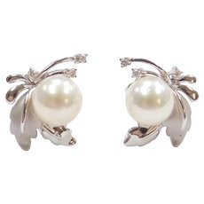 18k White Gold Cultured Pearl and Diamond Leaf Stud Earrings