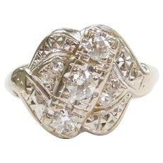 Retro 1940-50's .58 ctw Diamond Ring 14k White Gold