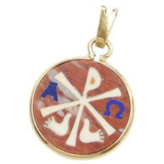 Red Jasper Alpha Omega Chi Rho Holy Spirit Dove Pendant 14k Gold