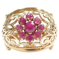 .87 ctw Ruby Cluster Ring 18k Gold Ornate Swirl Design