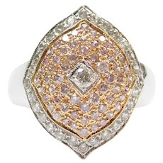 1.12 ctw White and Pink Diamond Ring 18k White and Rose Gold