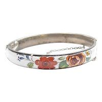 Hand Painted Floral Hinged Bangle Bracelet