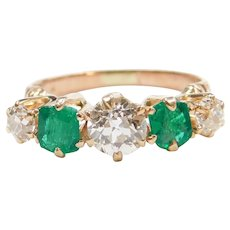 Edwardian 1.78 Old European Cut Diamond and Natural Emerald Ring 14k Rose Gold