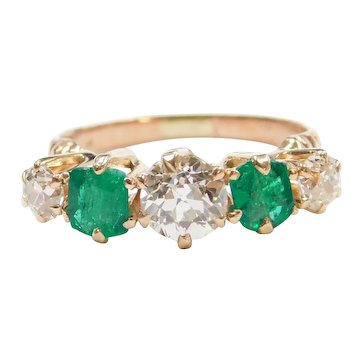 Edwardian 1.78 Old European Cut Diamond and Natural Emerald Ring 14k Rose Gold