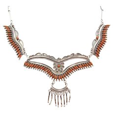 """17 3/8"""" Native American Red Coral Bib Necklace Sterling Silver"""