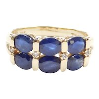 Natural Sapphire Band Ring 2.26 Ctw. Diamond Accent 10k Gold