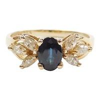 1.46 ctw Deep Blue Sapphire and Diamond Ring 14k Gold