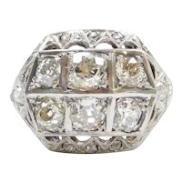 2.08 ctw Diamond Art Deco Ring 14k Gold and Platinum