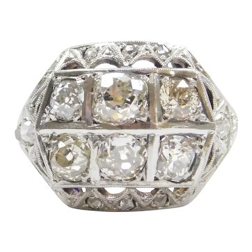 2.08 ctw Diamond Art Deco Ring 14k Gold and Platinum
