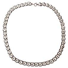 Art Nouveau Sterling Silver Ornate Link Necklace