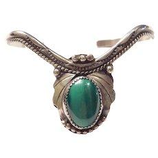W. Yazzie Native American Malachite Cuff Bracelet