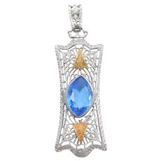 Art Deco Faux Blue Topaz Filigree Pendant Silver Plated Base Metal