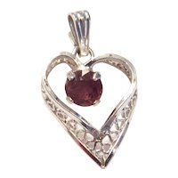Sterling Silver Purple Glass Filigree Heart Pendant / Charm