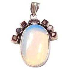 Sterling Silver Aurora Borealis, Garnet, Amethyst and Iolite Pendant