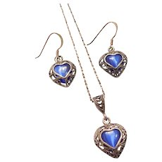 Sterling Silver Blue Cats Eye Heart Earrings and Necklace Set