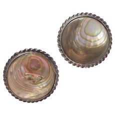 Danecraft Sterling Silver Abalone Shell Screw On Earrings