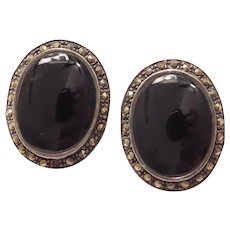 Art Deco Onyx and Marcasite Stud Earrings Sterling Silver