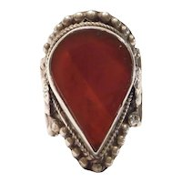 Big Pear Cut Carnelian Sterling Silver Ring