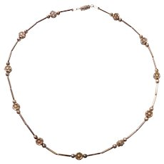 Sterling Silver Adult Choker / Childs Flower Necklace