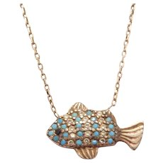 Sterling Silver Turquoise, Faux Diamond and Sapphire Fish Necklace