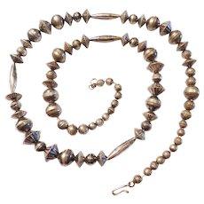 "Edwardian Handmade 30"" Long Sterling Silver Bead Necklace"