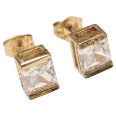 Sterling Silver Gold Plated 2.50 ctw Princess Cut Cubic Zirconia Stud Earrings