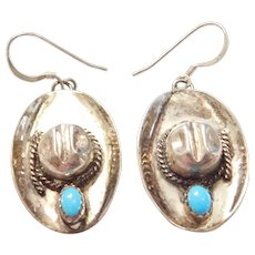 EDE Native American Cowboy Hat Earrings with Turquoise Accent