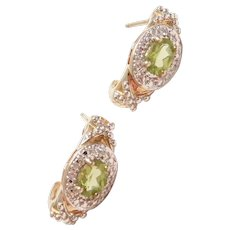 Sterling Silver and Gold Plated Peridot and Diamond Halo Hoop Earrings