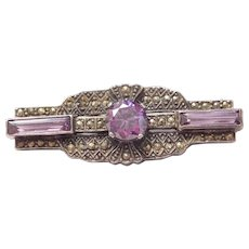 Art Deco 3.85 ctw Amethyst and Marcasite Bar Pin / Brooch Sterling Silver