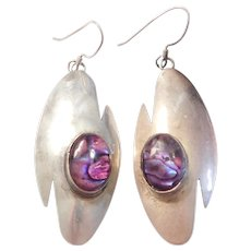 Sterling Silver Native American Abalone Shell Big Dangle Earrings