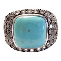 Sterling Silver Turquoise and Cubic Zirconia Ring