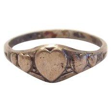 Edwardian Sterling Silver Baby Heart Ring Kiddlegem