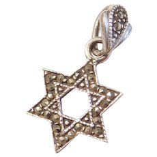 Sterling Silver Marcasite Star of David Jewish Charm