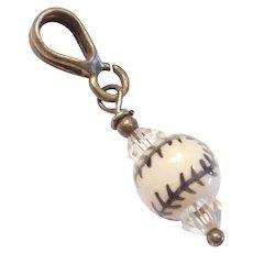Sterling Silver Glass Baseball Bead Charm / Pendant