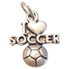 Sterling Silver I Love Soccer Heart Charm