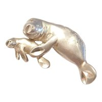 Sterling Silver Mother and Baby Manatee Charm / Pendant