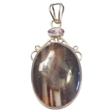 Sterling Silver Botswana Agate and Amethyst Pendant