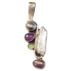 Desert Rose Trading Native American Sterling Silver Freshwater Cultured Pearl, Amethyst and Peridot Pendant